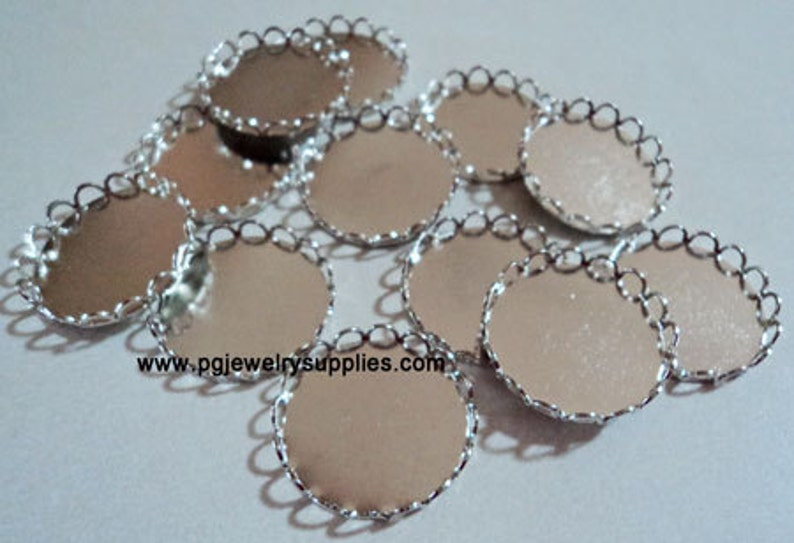 20mm Round lace edge silver tone cameo cab settings 12 pieces lot l X N