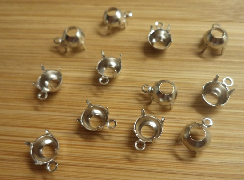 25ss stone size 5.44-5.61mm round silvertone prong open back one loop pendant settings 12 pc lot l