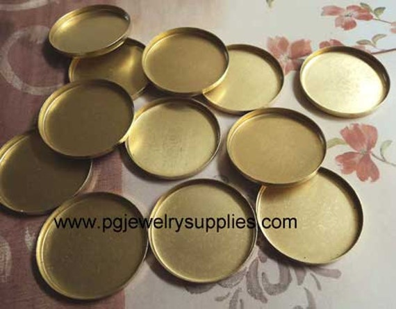 18mm brass round low wall  bezel closed back cup settings 12 pcs lot l X N INV