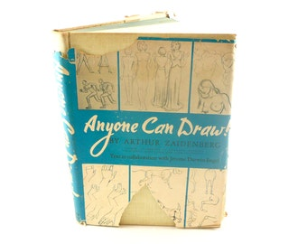 Vintage 1939 Hardcover Anyone Can Draw! book by Arthur Zaidenberg