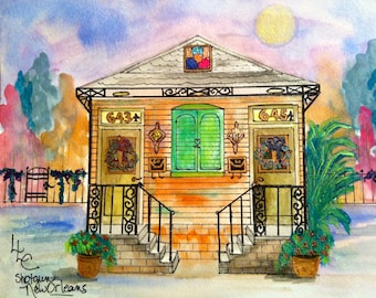 New Orleans Double Stair Yellow Shotgun House