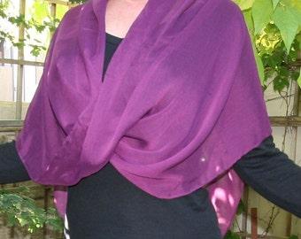 Poncho Twisted Scarf Merlot Purple Crinkled Chiffon Wrap