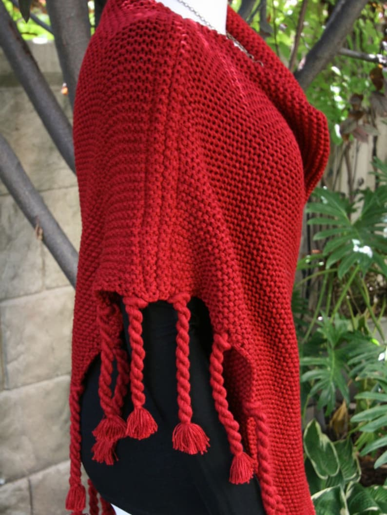 Poncho Warm and Cozy Asymmetric Deep Cranberry Red with Tassels Cape Shawl Wrap