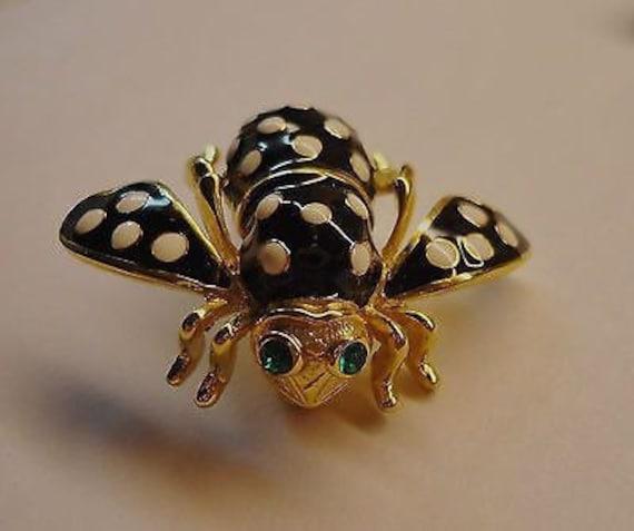 Joan Rivers Enamel Black and White Polka Dot Bee P