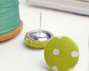 Dotty lime fabric earrings | Green fabric covered button jewellery | Spotty fabric vintage style accessories