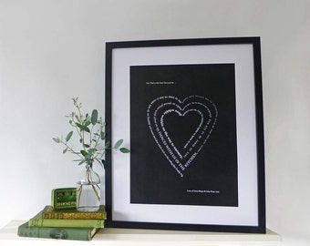 Personalised typographic heart print | Ideal gift for a loved one, wedding or anniversary present | Contemporary home décor | Bespoke design