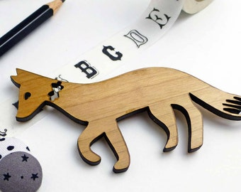 Fantastic Mr Fox | Wooden Brooch | Fox Brooch | Woodland animal accessories | Wood Jewellery