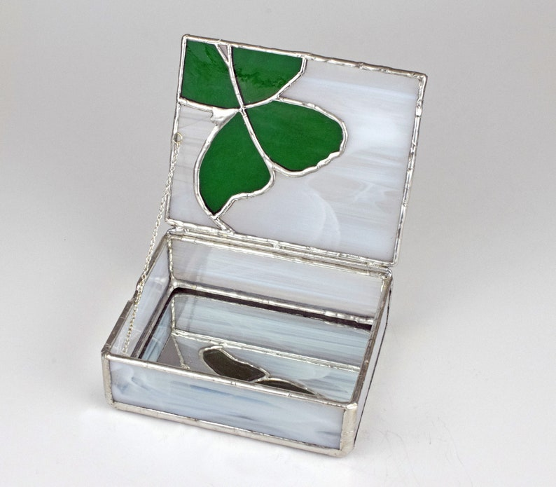 Green Butterfly on Wispy White Anniversary Stained Glass Jewelry Box  Gift Box Keepsakes Handmade Made in USA Birthday Gift 