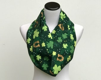 Patrick/'s Shamrock Monogram Navy Pocket Scarf Fleece Lucky Clover Irish Gift St