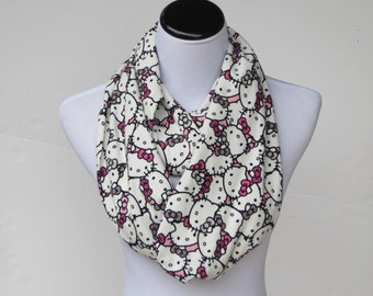 44b9b811d Kitty scarf, infinity scarf for kitty lovers loop scarf cute pink white  black cat scarf - matching scarf for mom and little girl