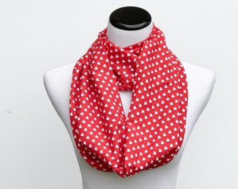 893342503 Valentine's Day Scarf Hearts Scarf Red Scarf Loop Scarf White Hearts Scarf  Infinity Scarf Red Heart Print Scarf Circle Scarf