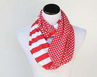 Infinity scarf red white polka dots and stripes scarf circle scarf loop scarf gift idea for her gift for mom and  girl