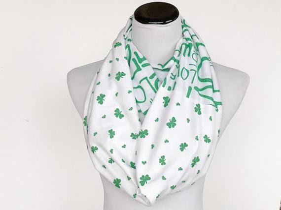 Shamrock St Patricks Day Scarf Small Shamrock print scarf White