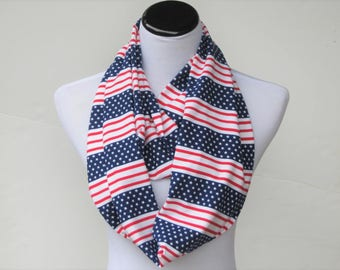 American flag scarf, American Patriot scarf Infinity scarf 4th of July scarf red blue white stars stripes scarf, jersey knit circle scarf
