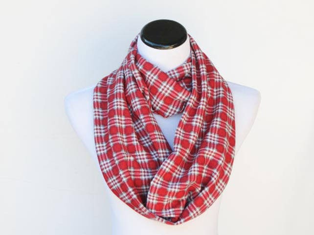 red gray plaid scarf infinity scarf christmas scarf jersey etsy - Christmas Plaid Scarf