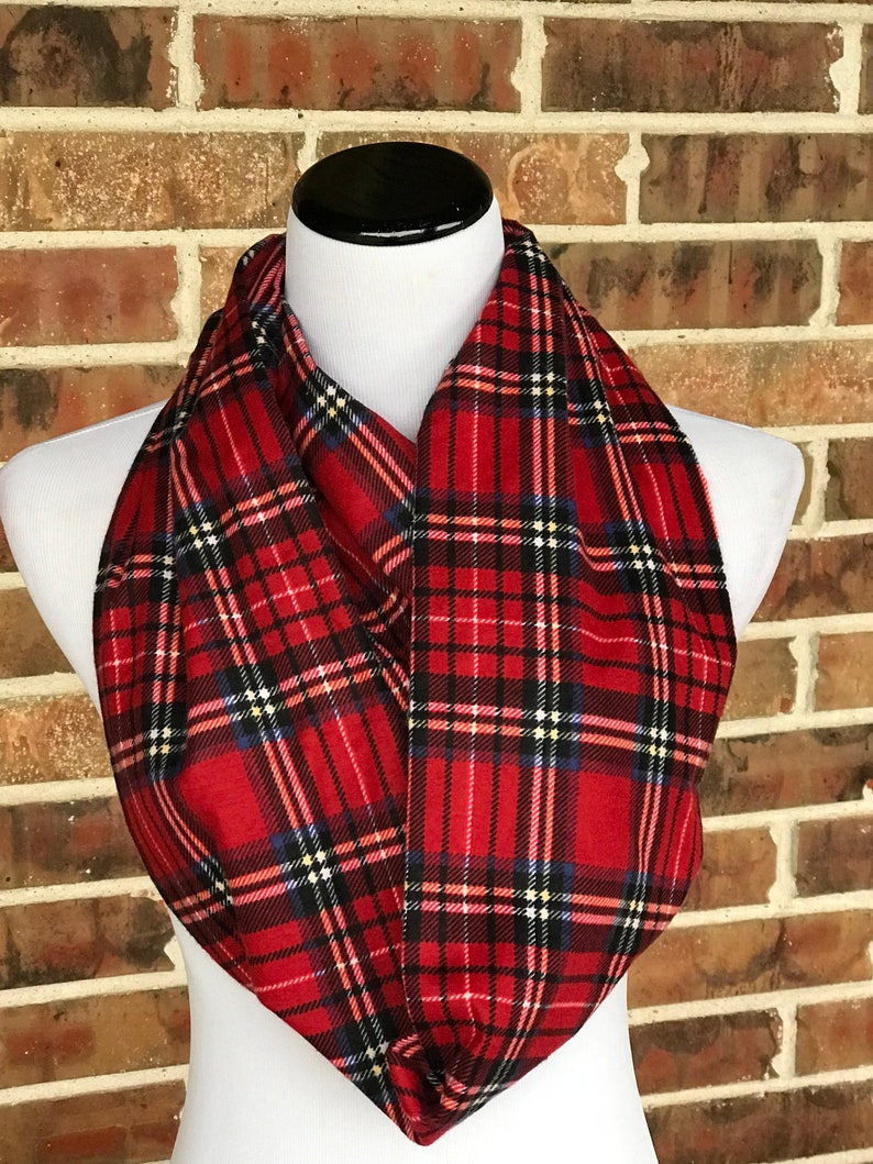 Blue Red Black Check Tartan Print Men Boy Scarf Winter Warmer Christmas for Him
