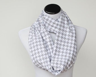 Gray scarf Grey houndstooth soft jersey knit infinity scarf white gray loop scarf - birthday and Mother's day gift for her, gift for mom
