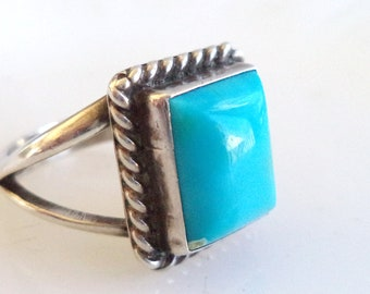 Vintage Sterling Silver Turquoise Ring Sky Blue Navajo Handcrafted Size 12 US