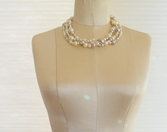 Vintage Triple Strand Glass Pearl Bead Torsade Necklace Swarovski Elements