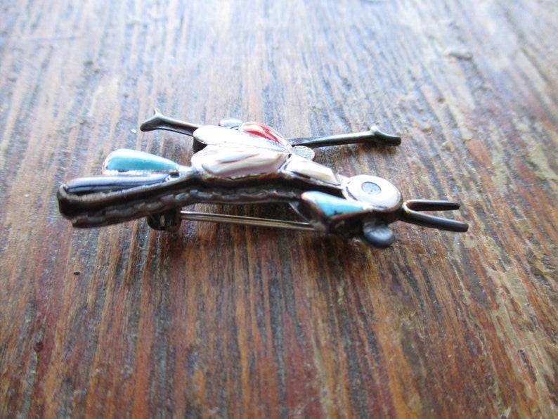 Zuni Roadrunner Brooch Inlaid Turquoise MOP Coral Onyx Sterling Brooch Mid Century ZUNI Figural Brooch Pin Bird Brooch