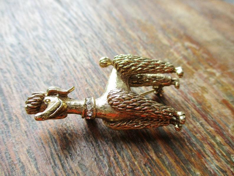 Vintage Poodle Brooch Gold Tone Crystal Rhinestones Dog Brooch Figural Jewelry