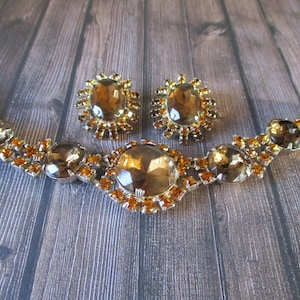 D and E Juliana Jewelry Vtg 5 Link Bracelet Black Diamond Smokey Gray /& AB Rhinestones Juliana Rhinestone Bracelet and Earring Set