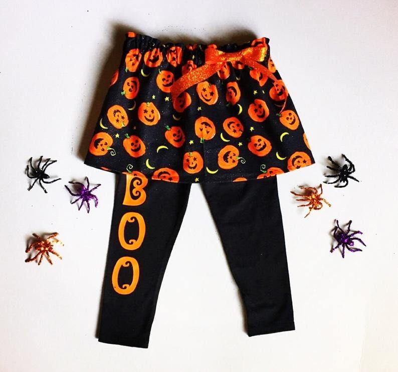 Halloween Leggings Girl/'s Halloween pants Orange and black Leggings Baby Halloween pants toddler girl Halloween pants Boo Pants