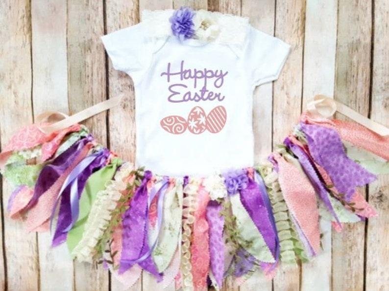 Happy Girl/'s Easter Outfit Pink Purple Easter Egg Hunt Easter Tutu Peach Light Green Baby Girl Easter Outfit Egg Hunt Easter Egg
