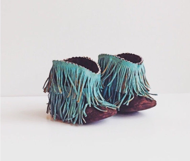 Baby Boots Baby Western Booties Shabby Chic Fringe Turquoise image 0