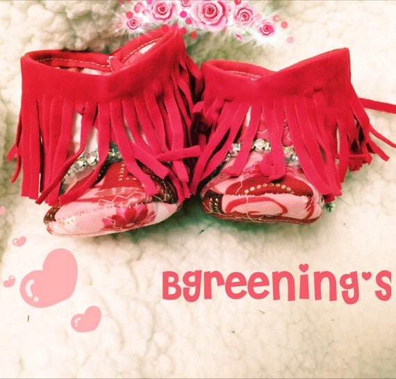 a0ce2f51a60a6 Valentine's Day Baby Fringe Boots, Baby Moccasin Booties Shabby Chic,  Fringe Baby Boots, Pink and Red Fring Baby Shoes, Fringe Baby Shoes