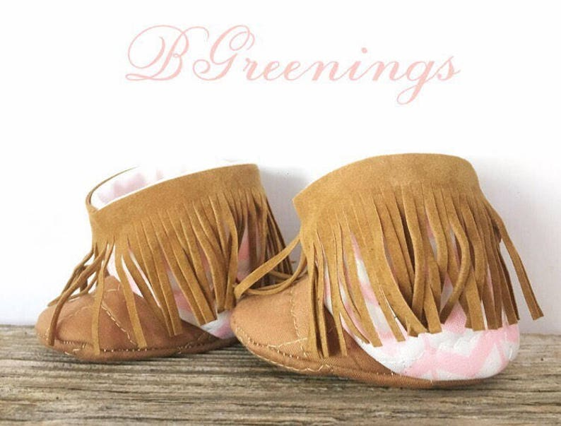 7c866c546f589 Pink and Tan Baby Fringe Boots, Baby Moccasin Booties Shabby Chic, Fringe  Baby Boots, Chevron Baby Shoes, Fringe Baby Shoes