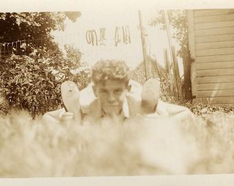 flexible man vintage photograph
