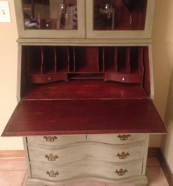 Vintage Antique Mahogany Secretary Desk Hutch Kitchen Etsy
