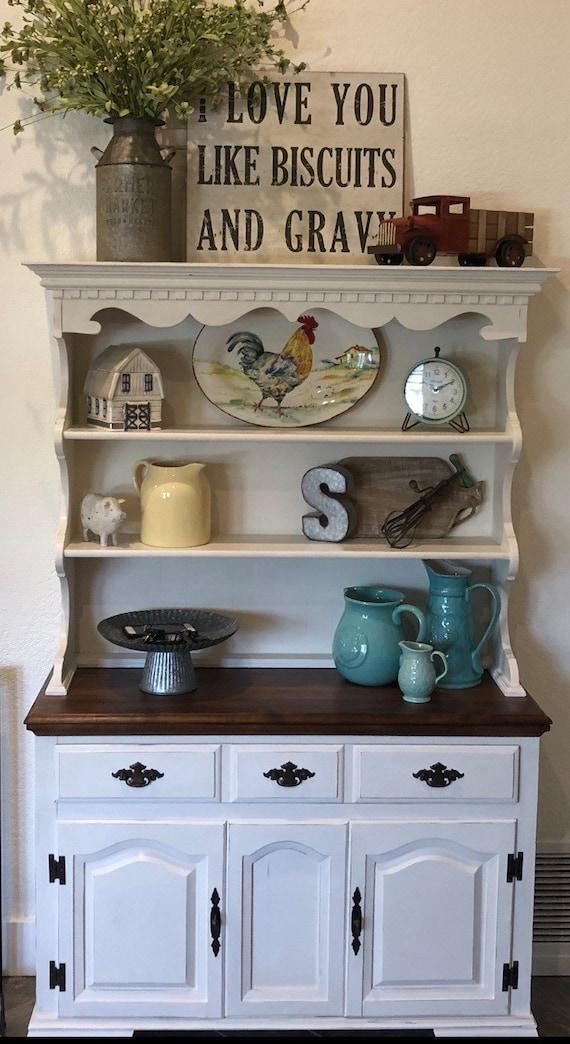 Farmhouse hutch/kitchen hutch/rustic hutch/country hutch/kitchen  cabinet/china cabinet/kitchen buffet