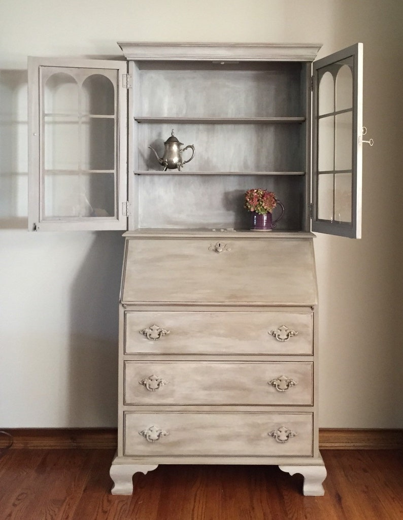 Vintage Secretary Desk >> Vintage Antique Secretary Desk Hutch Refinished Hand Painted Jasper Cabinet