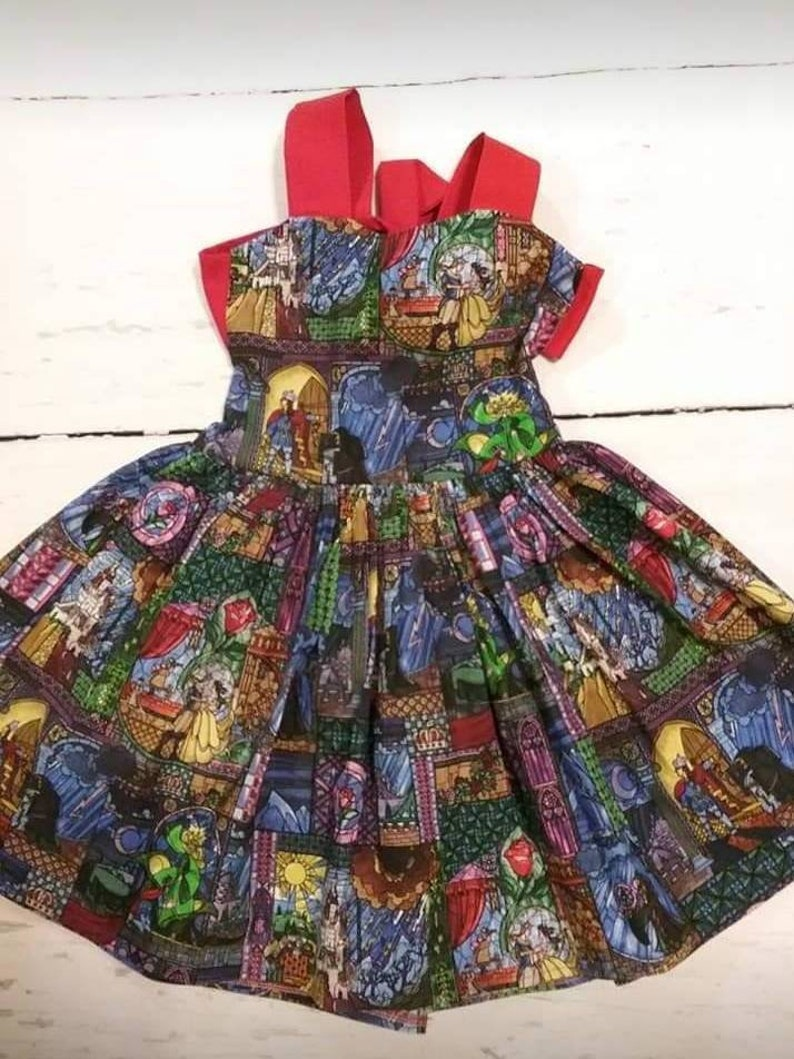 Dress with Print Twirl Dress for toddlers and girls Toddler and Girls Beauty and the Beast Dress Little girls Beauty Print Dress beauty