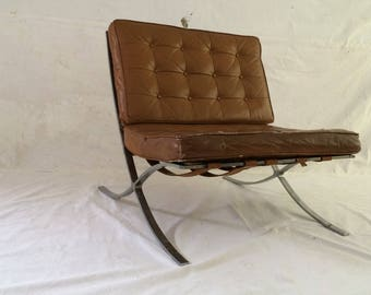 Mies Van Der Rohe BarceLona ChaiR Industria ARgentina Early 1950u0027s BarceLona  ChairR MiD CeNtuRy Lounge LeatheR+chRomed SteeL