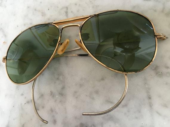 WW II lunettes de soleil pilote aviateur ViNtage 1940 or   Etsy bcc7ce64b859