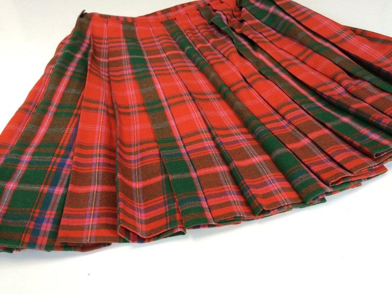 1970/'s WeLsh pLaid wooL taRtan KiLt auTheNtic viNtage WooL meN/'s taRtan pLaid pLeated kiLt