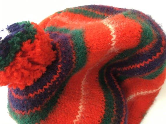 1960's MoD WooL BeReT PoM PoM BeANiE chunky kNit f