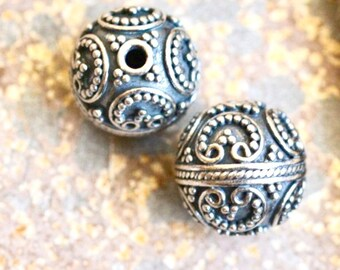 7d4c647cb 2 - 10mm Round Sterling Silver Oxidized Beads, Focal Beads, Ornate Beads,  Fancy Beads, Silver Beads for Earrings, BS171201D
