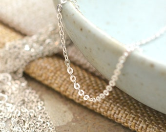 a29d07fa44f63d Fine Silver Chain, Sterling Silver, Dainty Sparkly Flat Cable Chain, Silver  Chain, Minimalist Silver Necklace, KP18-0405