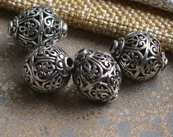 6348465bf 2 - 12mm Sterling Silver Filigree Oval Bead, Silver Flower Design Bead,  Large Hole Beads, Silver Beads for Earrings, KP17-0120E