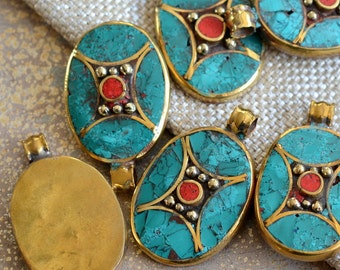 PM489 1 Pendant Round oval shape Tibetan naga conch shell brass bail pendant with turquoise coral inlay Handmade Nepal jewelry supply