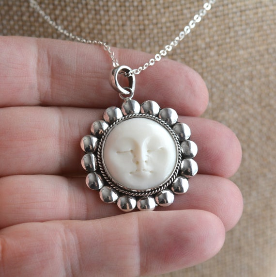 Round Moon Face Pendant Necklace Carved Bone Moon Face Etsy