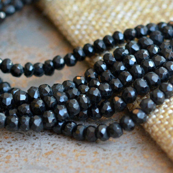 Black Spinel Gemstone 4mm Rondelle Faceted Strand 20 To 32/'/' Beautiful Necklace