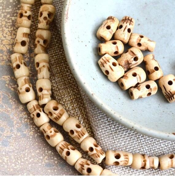 Carved Bone Skull Beads Antiqued Bone Beads Tibetan Skull Etsy