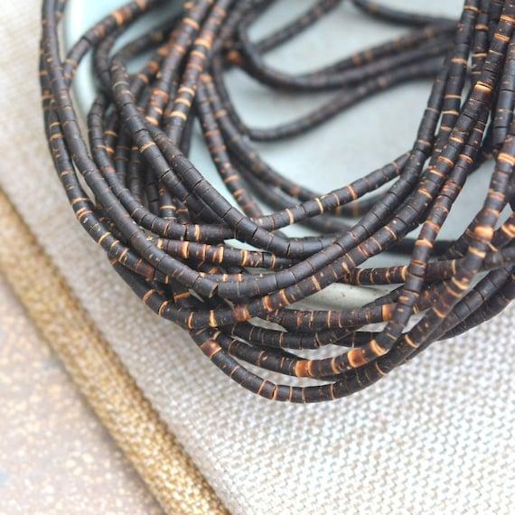 "5 Strands of 22/"" Natural Dark Coconut Wood Heishi Beads 3mm"