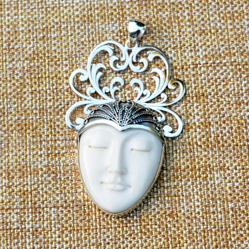 Moon Face 1 Buddha Yogi Sterling Silver Carved Bone Goddess Pendant Sleeping Goddess Bone Carving Statement