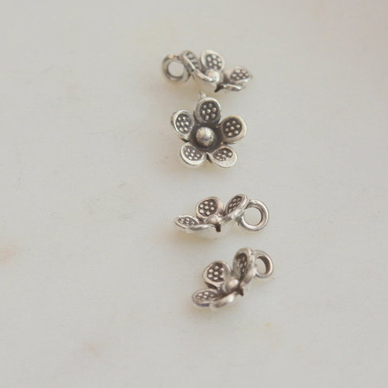 Thai Hill Tribe Silver Charms, Flower Petal Tribal Charms 2-10mm Karen Hill Tribe Flower Charm Beads 2mm Bail Sterling Silver
